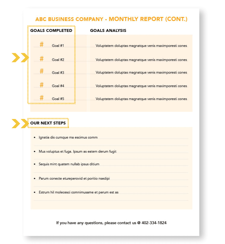 the LeadGen Compass Monthly Report Second Page